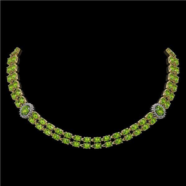 38.1 ctw Peridot & Diamond Necklace 14K Yellow Gold - REF-454Y5X