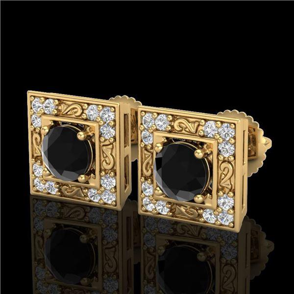 1.63 ctw Fancy Black Diamond Art Deco Stud Earrings 18k Yellow Gold - REF-114N5F