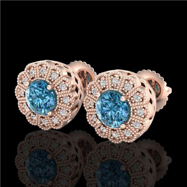 1.32 ctw Fancy Intense Blue Diamond Art Deco Earrings 18k Rose Gold - REF-178M2G