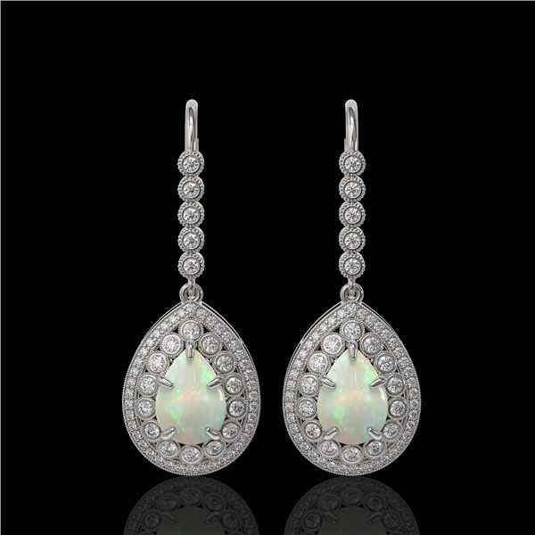 8.29 ctw Certified Opal & Diamond Victorian Earrings 14K White Gold - REF-268N9F