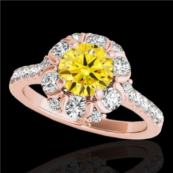 2.05 ctw Certified SI/I Fancy Intense Yellow Diamond Ring 10k Rose Gold - REF-225W2H