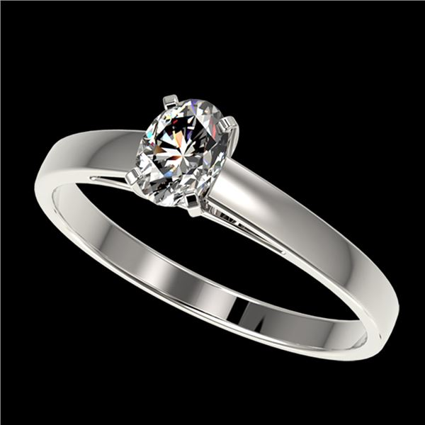 0.50 ctw Certified VS/SI Quality Oval Diamond Engagment Ring 10k White Gold - REF-60K3Y