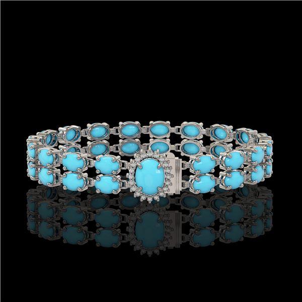 21.22 ctw Turquoise & Diamond Bracelet 14K White Gold - REF-218R2K