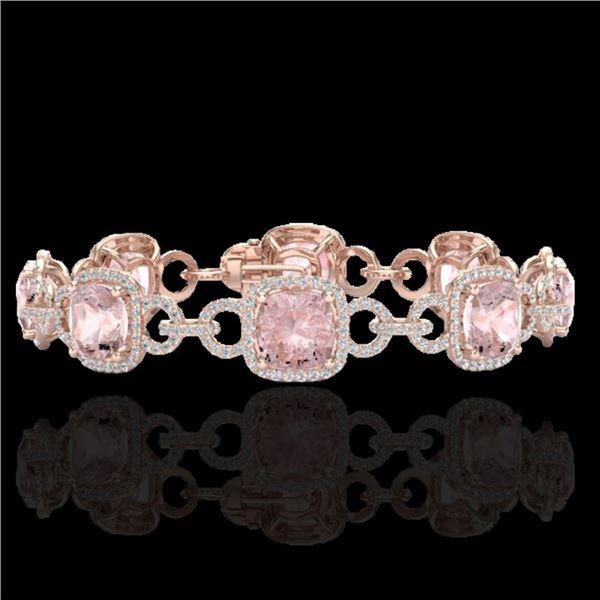 22 ctw Morganite & Micro VS/SI Diamond Bracelet 14k Rose Gold - REF-575X5A