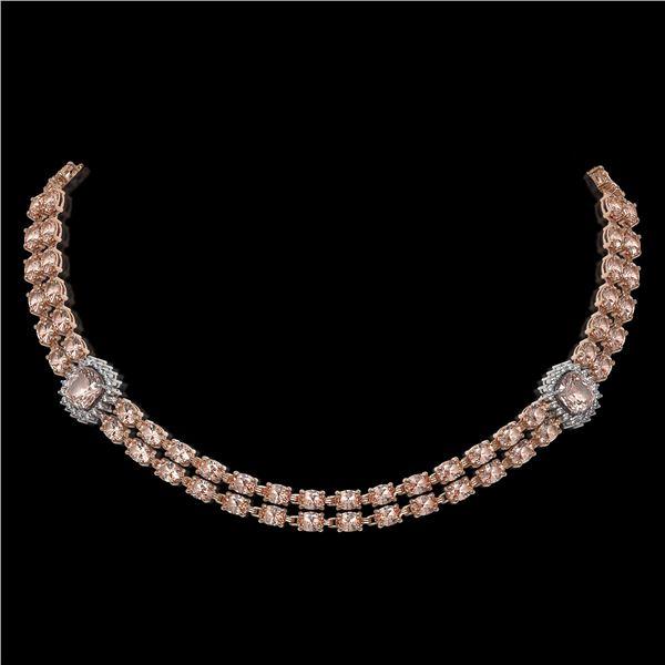 37.49 ctw Morganite & Diamond Necklace 14K Rose Gold - REF-527X3A