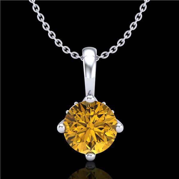 0.82 ctw Intense Fancy Yellow Diamond Art Deco Necklace 18k White Gold - REF-136K4Y