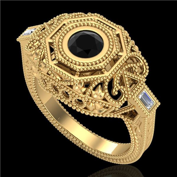 0.75 ctw Fancy Black Diamond Engagment Art Deco Ring 18k Yellow Gold - REF-118A2N