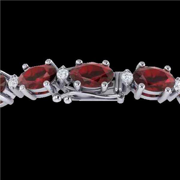 25.8 ctw Garnet & VS/SI Certified Diamond Eternity Bracelet 10k White Gold - REF-119K3Y