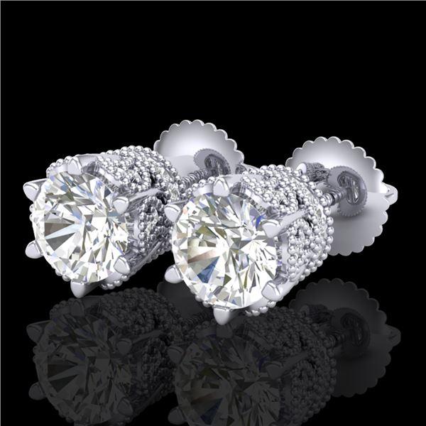 2.04 ctw VS/SI Diamond Solitaire Art Deco Stud Earrings 18k White Gold - REF-361F8M