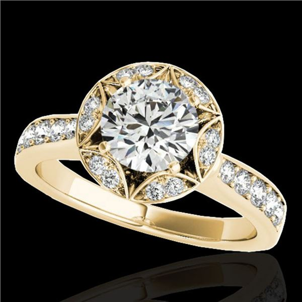 1.5 ctw Certified Diamond Solitaire Halo Ring 10k Yellow Gold - REF-211N4F