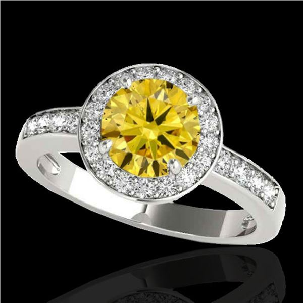 2 ctw Certified SI/I Fancy Intense Yellow Diamond Halo Ring 10k White Gold - REF-327K3Y
