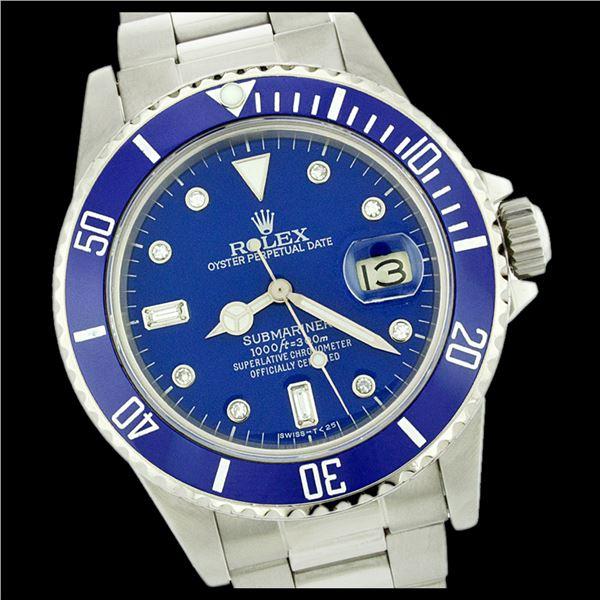 Rolex Men's Submariner, QuickSet, Diam Dial w/ Rotatable Blue Insert Bezel