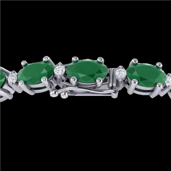 30.8 ctw Emerald & VS/SI Diamond Eternity Bracelet 10k White Gold - REF-245F5M