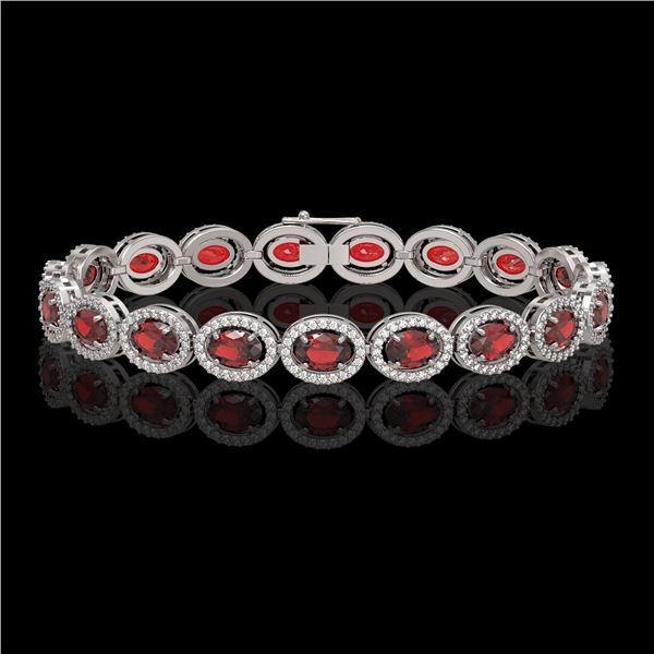 14.63 ctw Garnet & Diamond Micro Pave Halo Bracelet 10k White Gold - REF-263W6H