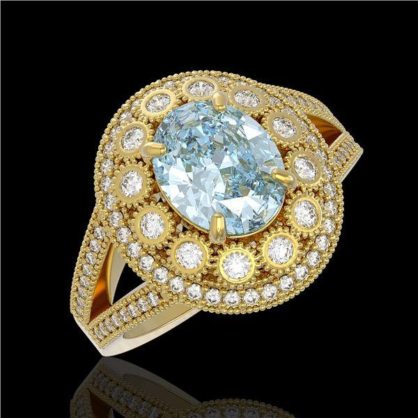 3.85 ctw Certified Aquamarine & Diamond Victorian Ring 14K Yellow Gold - REF-165W3H