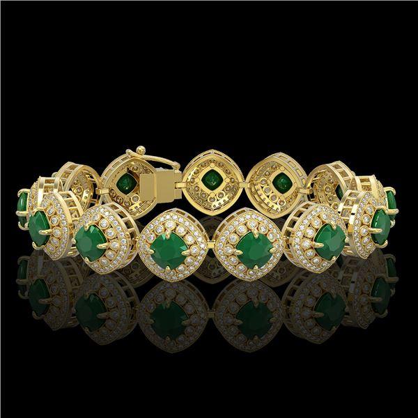 37.35 ctw Emerald & Diamond Victorian Bracelet 14K Yellow Gold - REF-956K8Y