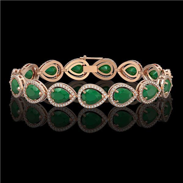 30.06 ctw Emerald & Diamond Micro Pave Halo Bracelet 10k Rose Gold - REF-393R3K