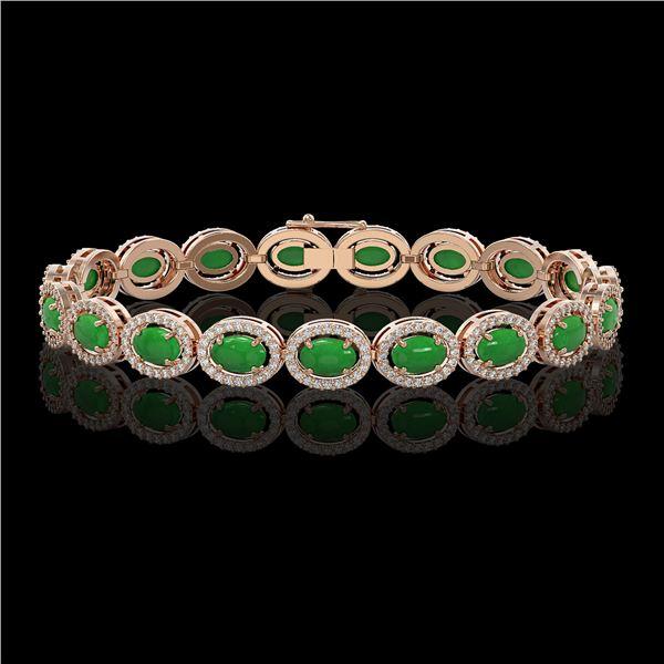 15.20 ctw Jade & Diamond Micro Pave Halo Bracelet 10k Rose Gold - REF-278N2F