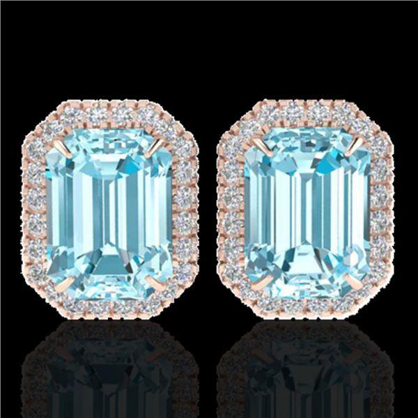 12 ctw Sky Blue Topaz & Micro Pave Diamond Earrings 14k Rose Gold - REF-81G8W