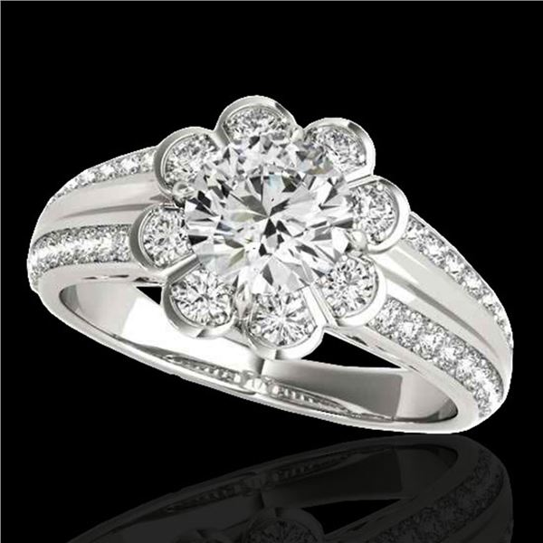 1.5 ctw Certified Diamond Solitaire Halo Ring 10k White Gold - REF-190W9H
