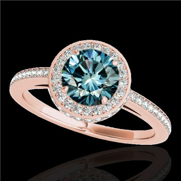 1.55 ctw SI Certified Fancy Blue Diamond Halo Ring 10k Rose Gold - REF-135H2R