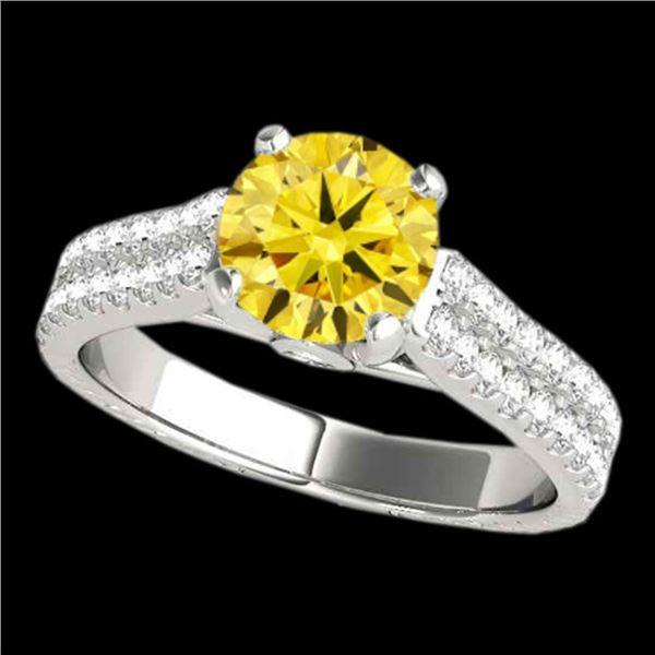 1.61 ctw SI/I Fancy Intense Yellow Diamond Pave Ring 10k White Gold - REF-204H5R