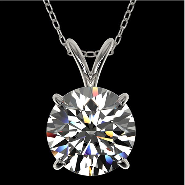 2 ctw Certified Quality Diamond Solitaire Necklace 10k White Gold - REF-449W5H