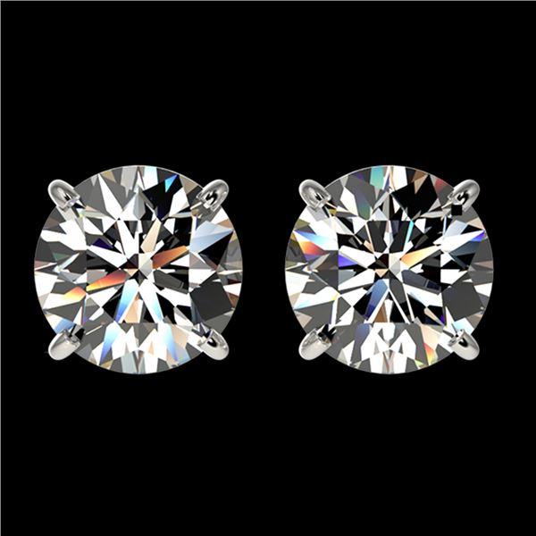 2.11 ctw Certified Quality Diamond Stud Earrings 10k White Gold - REF-256W3H