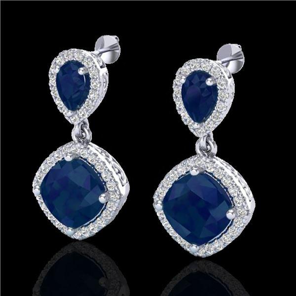 7 ctw Sapphire & Micro Pave VS/SI Diamond Earrings Designer 10k White Gold - REF-118A2N