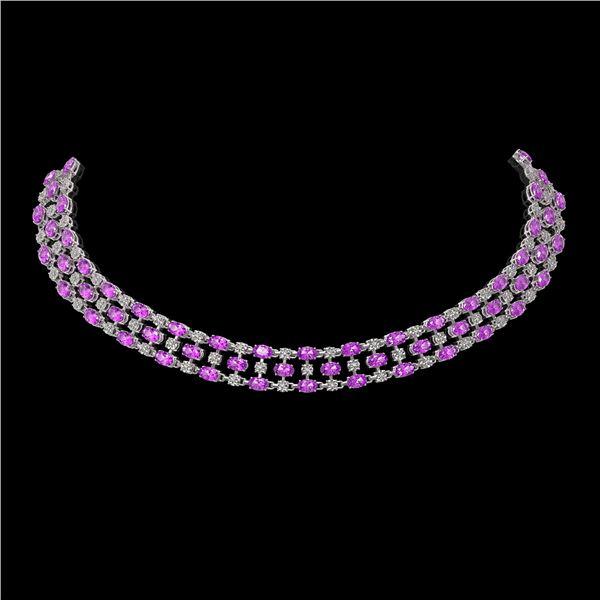30.83 ctw Amethyst & Diamond Necklace 10K White Gold - REF-427R3K
