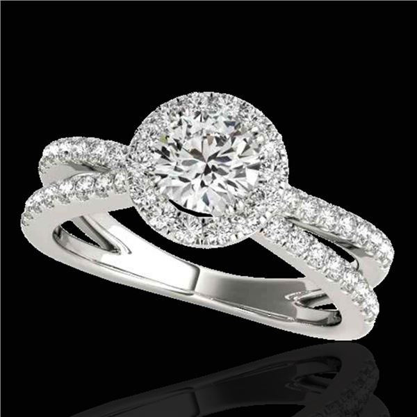 1.55 ctw Certified Diamond Solitaire Halo Ring 10k White Gold - REF-210G2W