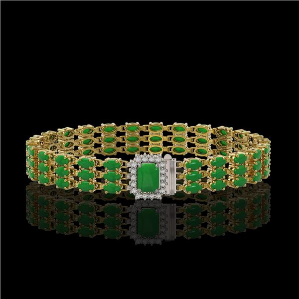 18.41 ctw Jade & Diamond Bracelet 14K Yellow Gold - REF-318W2H