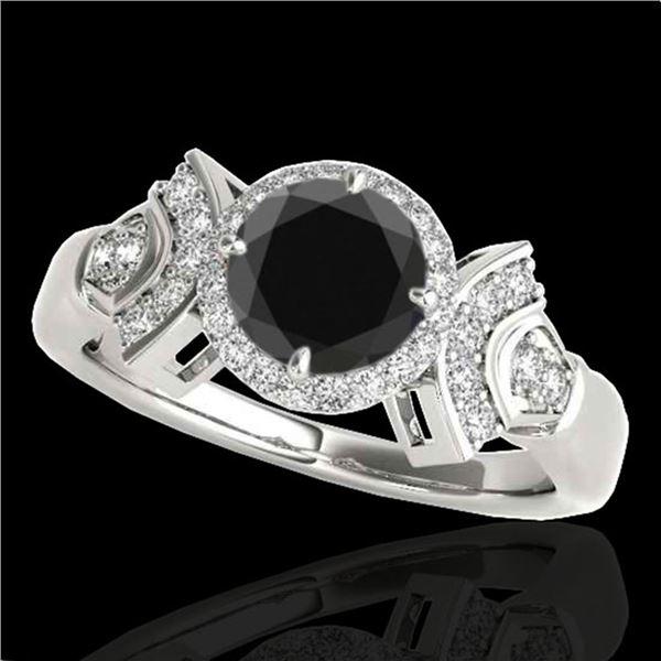 1.56 ctw Certified VS Black Diamond Solitaire Halo Ring 10k White Gold - REF-57R3K