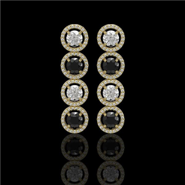 5.58 ctw Black & Diamond Micro Pave Earrings 18K Yellow Gold - REF-436G2W