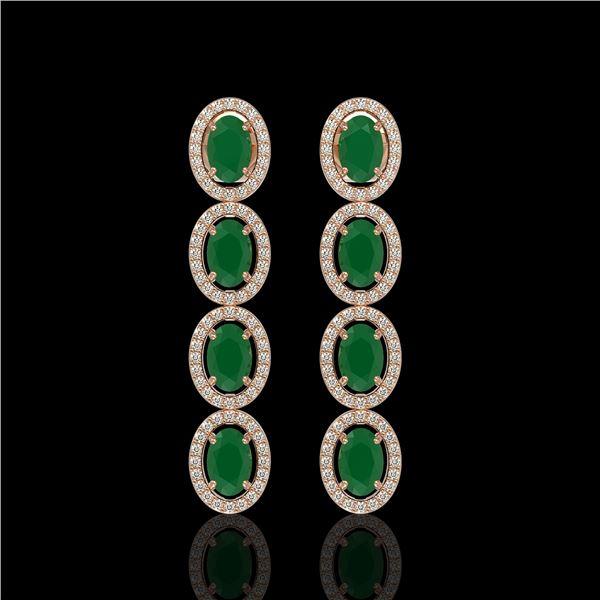 6.47 ctw Emerald & Diamond Micro Pave Halo Earrings 10k Rose Gold - REF-143N6F