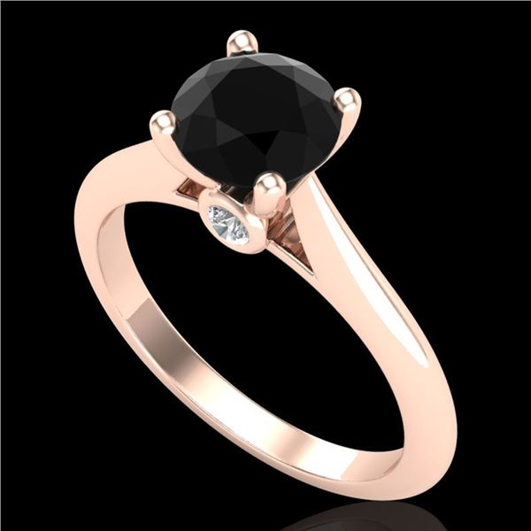1.36 ctw Fancy Black Diamond Engagment Art Deco Ring 18k Rose Gold - REF-66Y8X