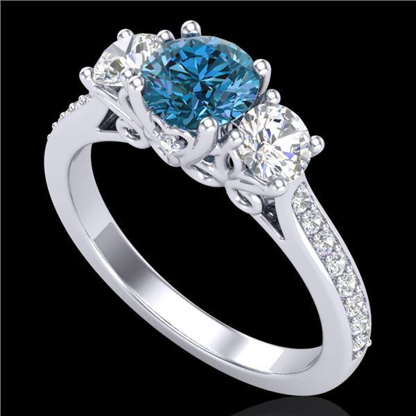 1.67 ctw Intense Blue Diamond Art Deco 3 Stone Ring 18k White Gold - REF-200N2F