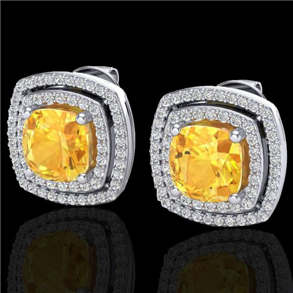 3.55 ctw Citrine & Micro Pave VS/SI Diamond Earrings 18k White Gold - REF-104N2F