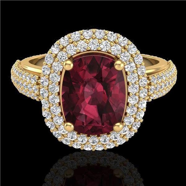 3.10 ctw Garnet & Micro Pave VS/SI Diamond Certified Ring 10k Yellow Gold - REF-100M2G