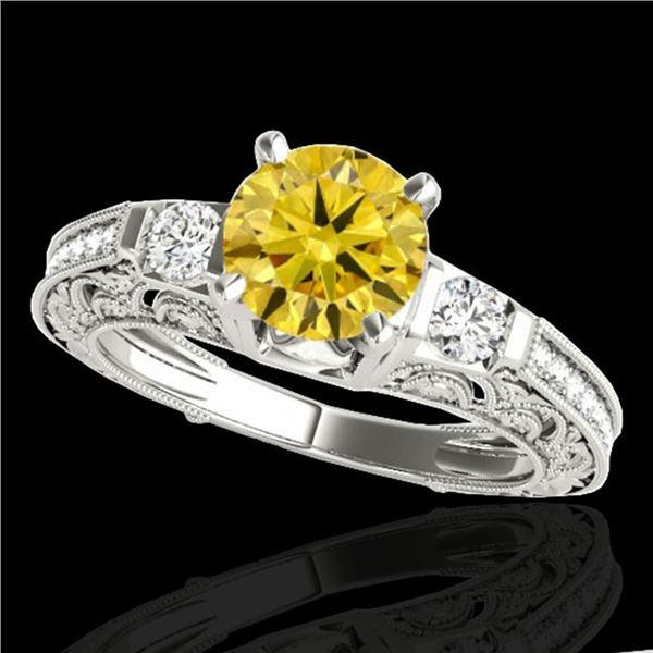 1.38 ctw Certified SI Intense Yellow Diamond Antique Ring 10k White Gold - REF-177H3R