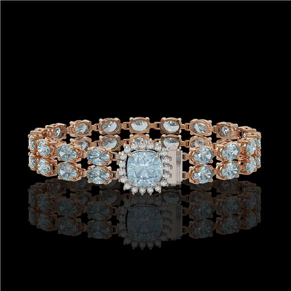 17.67 ctw Sky Topaz & Diamond Bracelet 14K Rose Gold - REF-178W2H