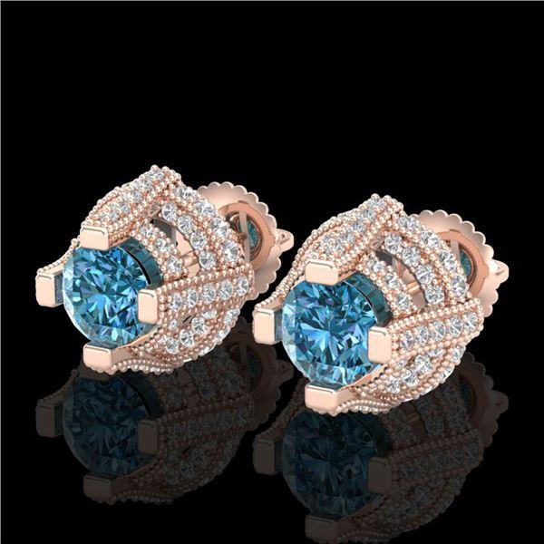 2.75 ctw Fancy Intense Blue Diamond Micro Pave Earrings 18k Rose Gold - REF-236Y4X