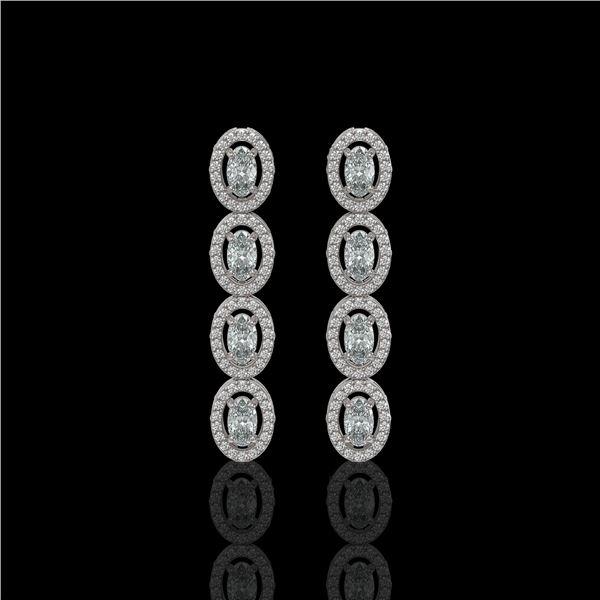 3.84 ctw Oval Cut Diamond Micro Pave Earrings 18K White Gold - REF-334M6G