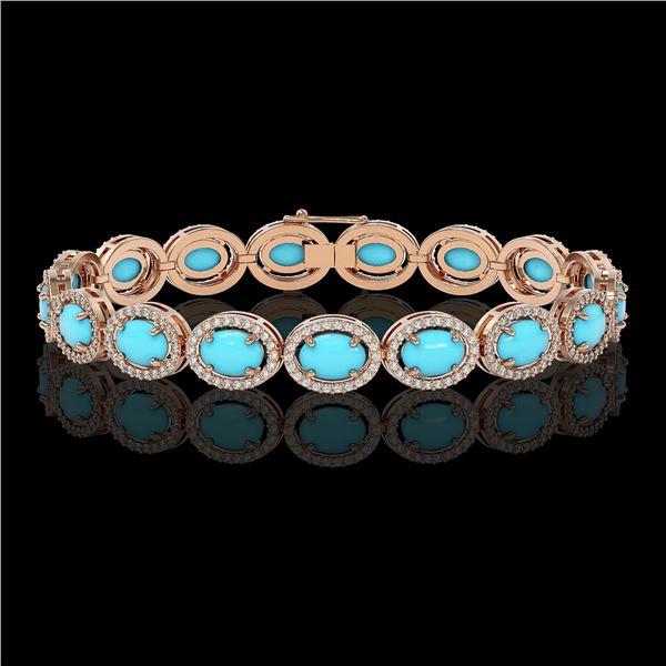 15.83 ctw Turquoise & Diamond Micro Pave Halo Bracelet 10k Rose Gold - REF-260H8R