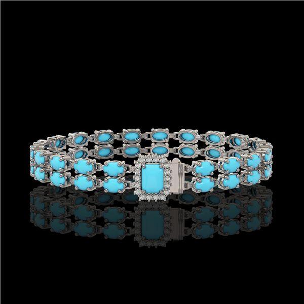 13.04 ctw Turquoise & Diamond Bracelet 14K White Gold - REF-236Y4X
