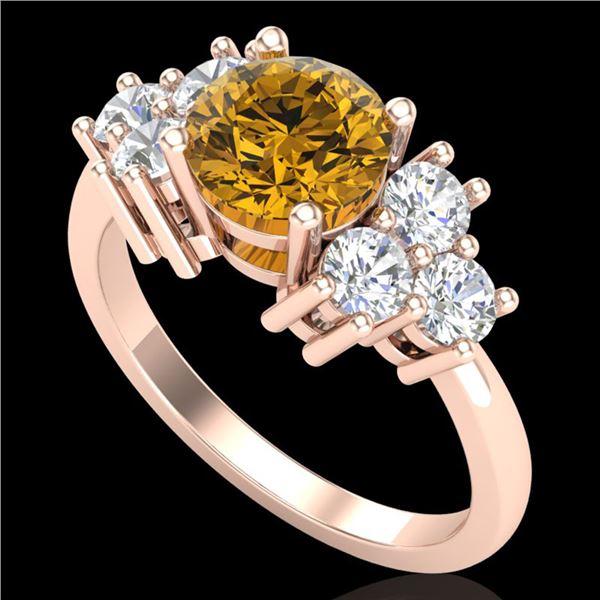 1.51 ctw Intense Fancy Yellow Diamond Art Deco Ring 18k Rose Gold - REF-263K6Y