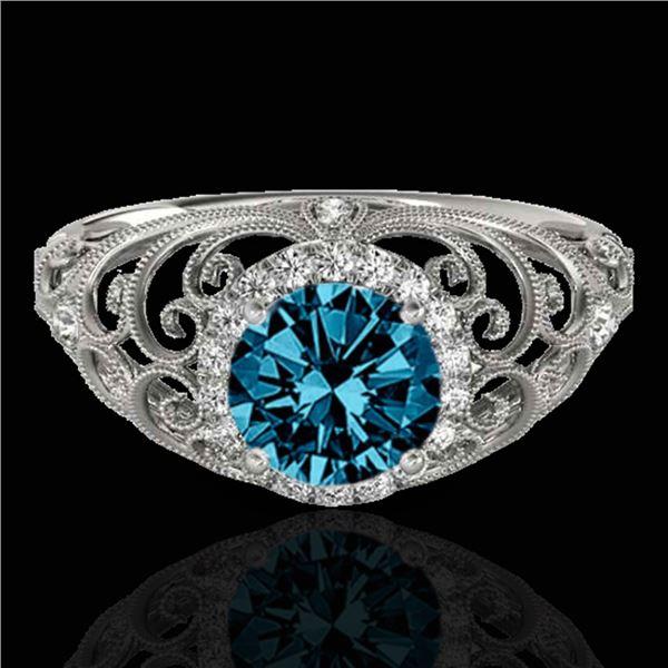 1.22 ctw SI Certified Fancy Blue Diamond Halo Ring 10k White Gold - REF-128R2K