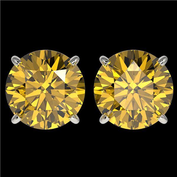 4 ctw Certified Intense Yellow Diamond Stud Earrings 10k White Gold - REF-724Y3X