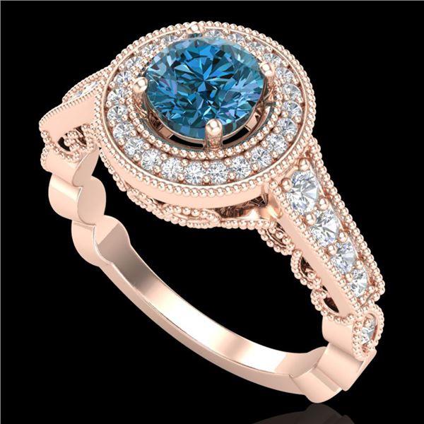 1.12 ctw Fancy Intense Blue Diamond Art Deco Ring 18k Rose Gold - REF-167K3Y