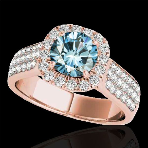 1.8 ctw SI Certified Fancy Blue Diamond Solitaire Halo Ring 10k Rose Gold - REF-135N2F